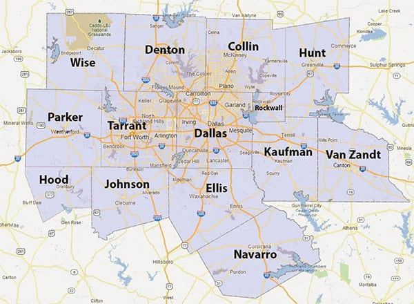 Ready Roofing & Renovation - Dallas Roofing Contractor Service Area Map